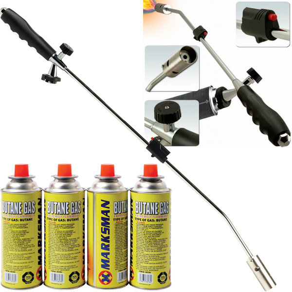 WEED WAND + 4 BUTANE GAS CANISTERS BLOWTORCH GARDEN TORCH WEED