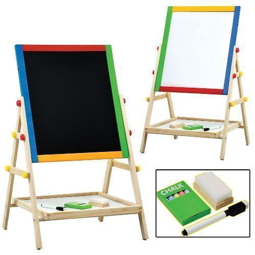 2 IN 1 CHILDREN KIDS COLOUR WOODEN BLACKBOARD EASEL STAND LEARN