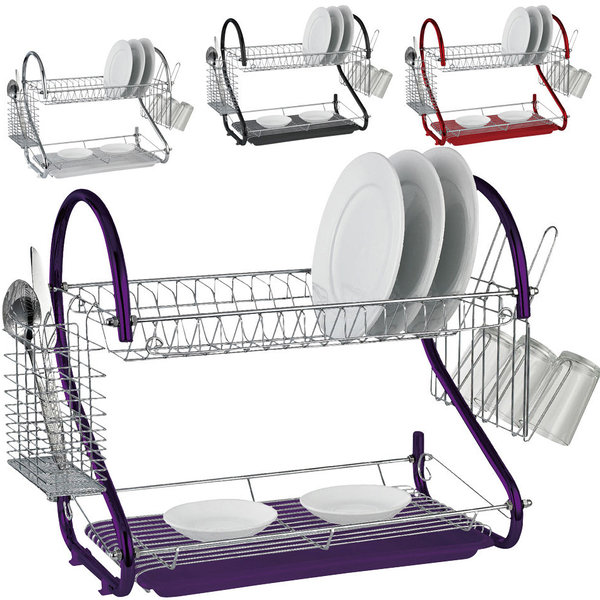 2 TIER CHROME PLATE DISH CUTLERY CUP DRAINER RACK DRIP TRAY NEW