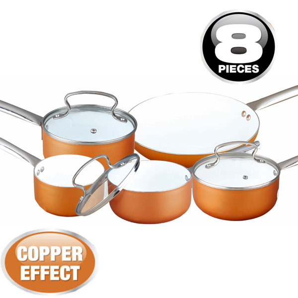 8PC COPPER EFFECT ALUMINIUM NON STICK COOKWARE SET FRYING PAN