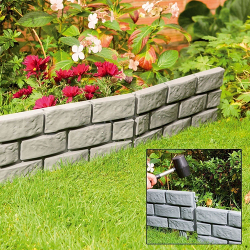 4PC BRICK EFFECT GARDEN EDGING BORDER PATH DRIVEWAY GRASS PATIO PLASTIC SET