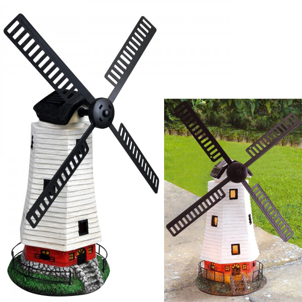 LARGE SOLAR POWERED LED MOTION & LIGHT WINDMILL GARDEN DECORATION ORNAMENT 52CM