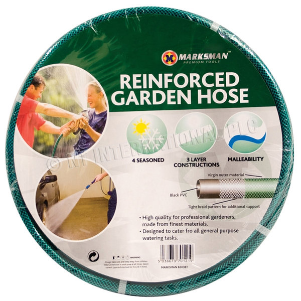GARDEN HOSE PIPE REEL REINFORCED TOUGH OUTDOOR WATER HOSEPIPE GREEN QUALITY NEW