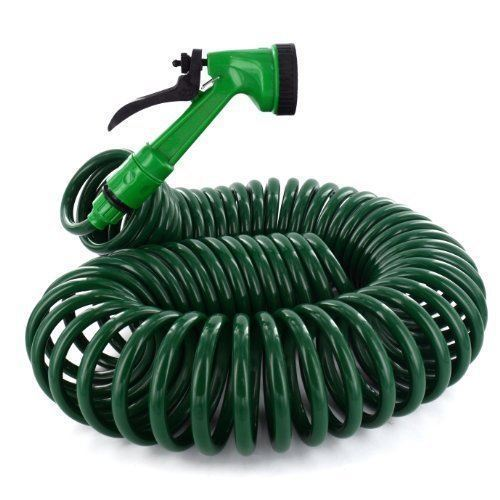 15M 50FT RETRACTABLE COIL HOSE GARDEN SPRAY GUN 5 FUNCTION PIPE REEL NOZZLE TAP