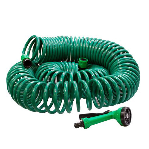30 METRE COIL 30M 100FT RETRACTABLE GARDEN HOSE REEL PIPE WITH SPRAY GUN NOZZLE