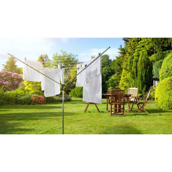 NEW CLOTHES AIRER 3 ARM ROTARY GARDEN WASHING LINE DRYER 30M FOLDING OUTDOOR
