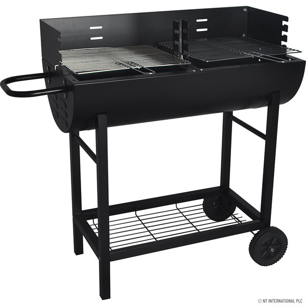 HALF DRUM BARREL STEEL BBQ CHARCOAL GARDEN BARBECUE BLACK ADJUSTABLE GRILL
