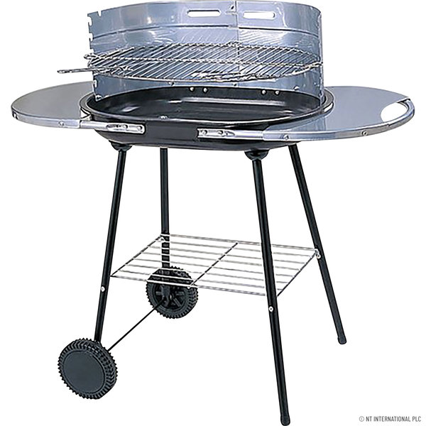CHARCOAL OVAL STEEL TROLLEY BBQ OUTDOOR BARBECUE GARDEN PATIO COOKING GRILL NEW