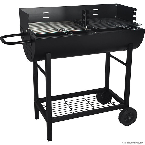 HALF DRUM BARREL STEEL BBQ CHARCOAL GARDEN BARBECUE BLACK ADJUSTABLE GRILL NEW
