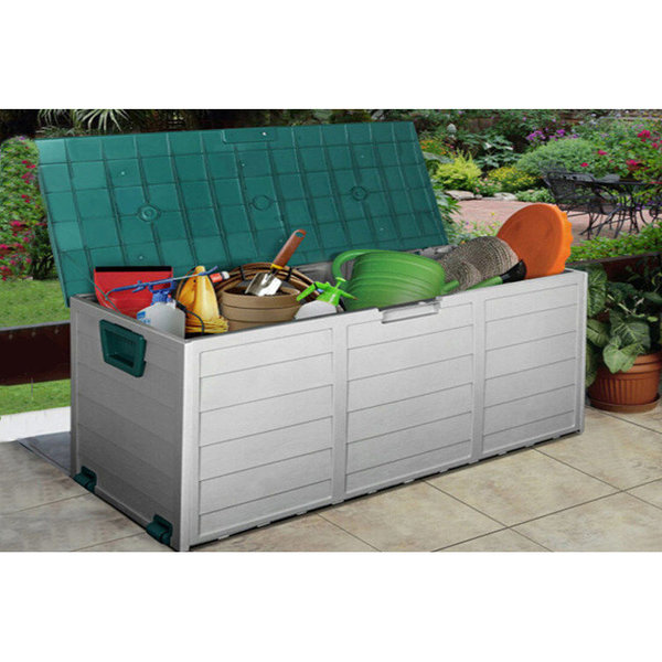OUTDOOR GARDEN PLASTIC STORAGE SEAT UTILITY CHEST CUSHION SHED BOX TOOLS TOYS