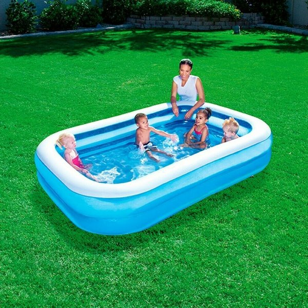 BESTWAY RECTANGULAR FAMILY SWIMMING PADDLING POOL OUTSIDE WATER FUN KIDS 8.6FT