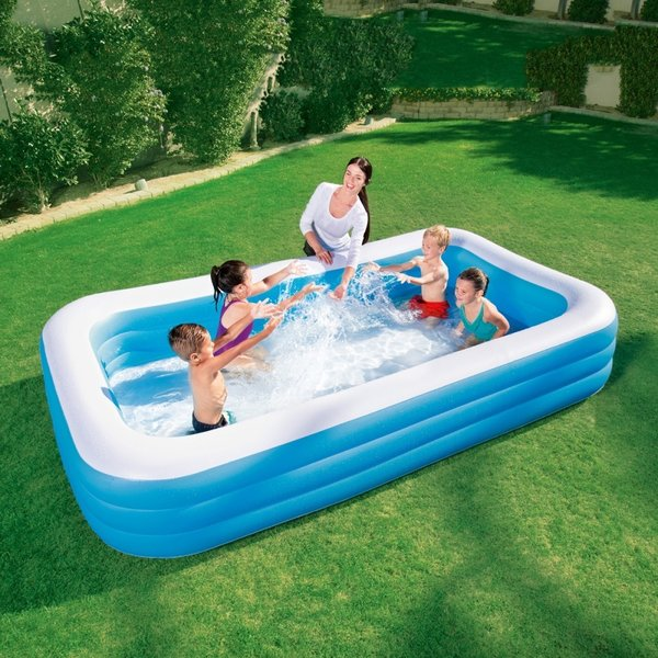 BESTWAY LARGE RECTANGULAR FAMILY SWIMMING PADDLING POOL OUTSIDE WATER KIDS 10FT