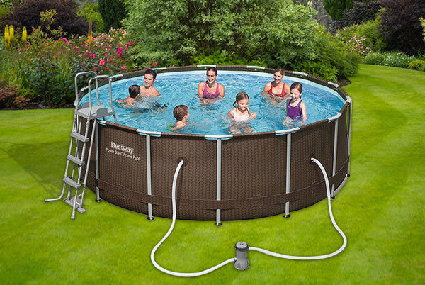 BESTWAY 14FT RATTAN SWIMMING POOL STEEL OUTDOOR GARDEN PADDLING + FILTER PUMP