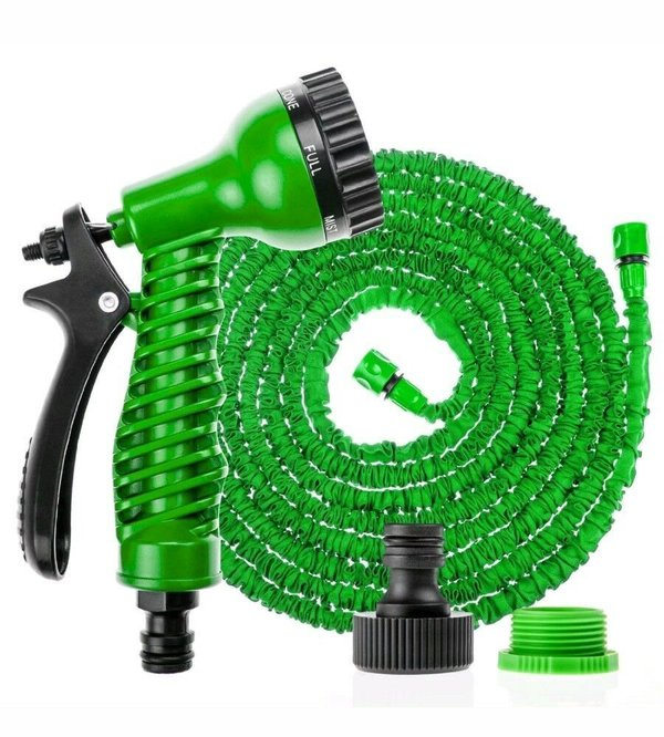 EXPANDABLE FLEXIBLE HOSEPIPE GARDEN HOSE PIPE MAGIC SNAKE + GUN GREEN WATERING