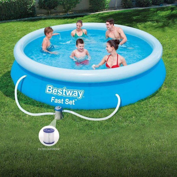 BESTWAY ROUND SWIMMING PADDLING POOL OUTSIDE WATER FUN KIDS 12FT + FILTER PUMP