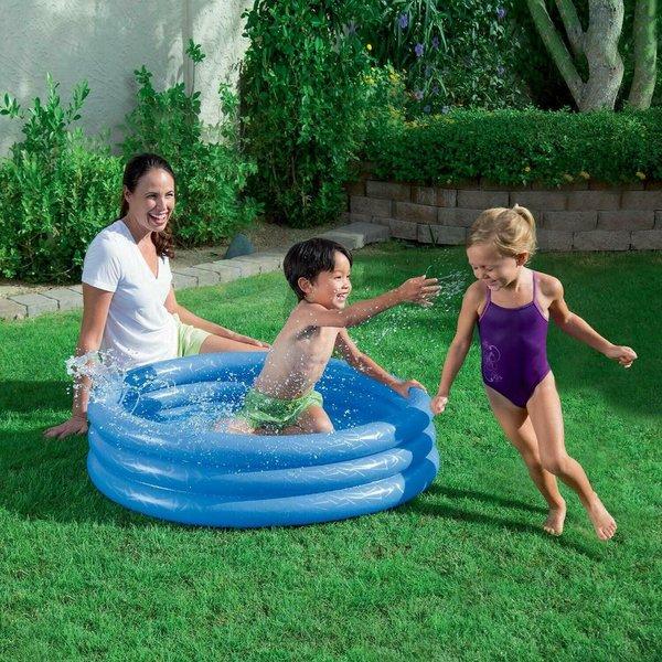3 RING BESTWAY LARGE PADDLING GARDEN POOL KIDS FUN FAMILY SWIMMING OUTDOOR INFLATABLE
