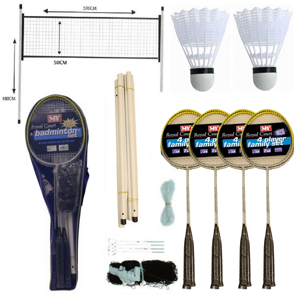 NEW 4 PLAYER BADMINTON SET WITH RACKET NET SHUTTLECOCK OUTDOOR