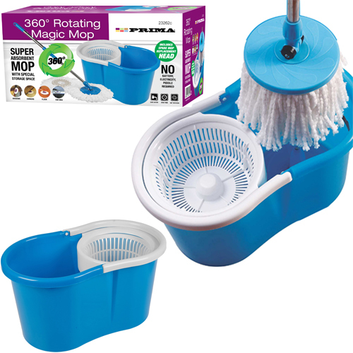 360° SPINNING ROTATING 2 MICROFIBRE CLEANING HEADS SPIN MOP