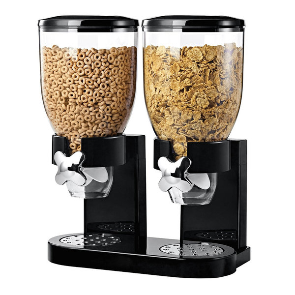 DOUBLE CEREAL DISPENSER DRY FOOD PASTA GRAIN KITCHEN STORAGE CONTAINER MACHINE
