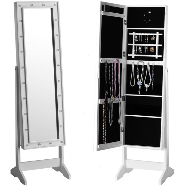 2 IN 1 MIRROR WITH LED LIGHTS JEWELLERY CABINET STAND STORAGE FLOOR