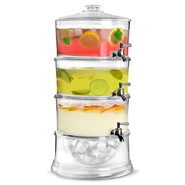 3 TIER PARTY DRINKS DISPENSER COCKTAIL SOFT DRINK JUICE TAPS 10.5L SUMMER PUNCH