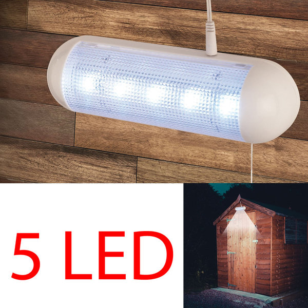 SOLAR POWERED 5 BRIGHT WHITE LED SHED LIGHT RECHARGEABLE OUTDOOR SECURITY LAMP