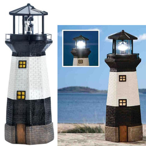 SOLAR POWERED LIGHTHOUSE ROTATING GARDEN LIGHT HOUSE DECORATION ORNAMENT 37CM