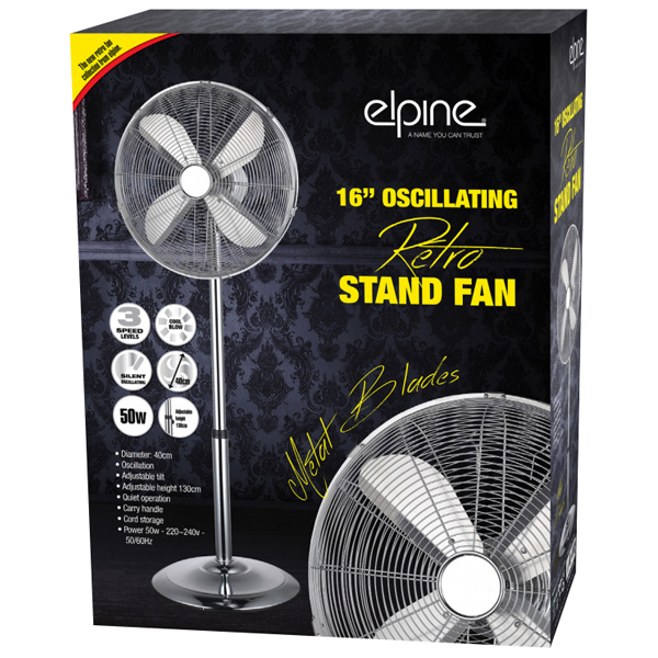 "16"" CHROME PEDESTAL OSCILLATING STAND STANDING COOLING FAN HOME COOL AIR TOWER"