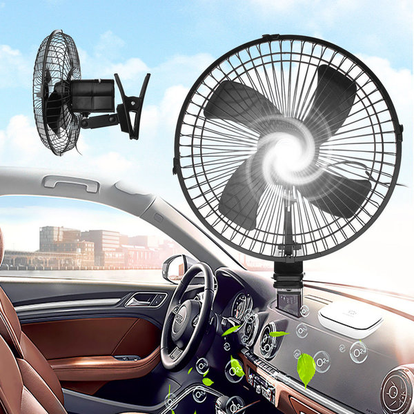 "6"" 12V CLIP ON CAR OSCILLATING FAN 2M CABLE SPEED CONTROLLER TRUCK VAN COOLING"