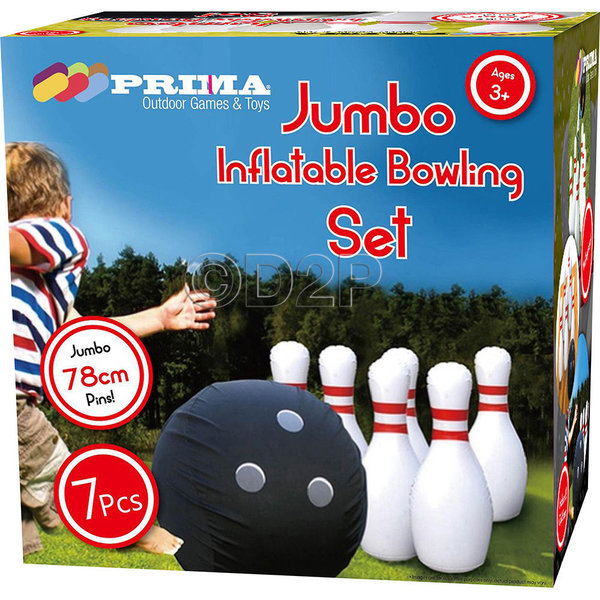 JUMBO INFLATABLE BOWLING GAME BOWL THROW PIN PLAY OUTDOOR TOY