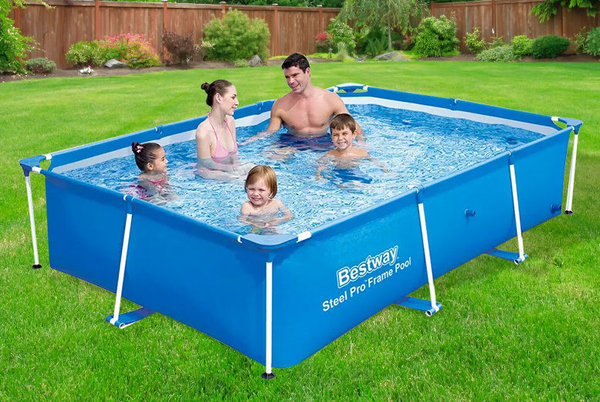 BESTWAY PRO STEEL FRAME SWIMMING POOL GARDEN FAMILY OUTDOOR PADDLING SPLASH NEW 3 SIZES